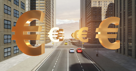 Euro Currency Sign In The City - Business Related Aerial 3D City Flight