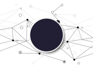 Vector abstract background polygon banner design and black circle, link connection signal on white background