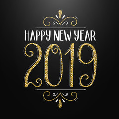 HAPPY NEW YEAR 2019 hand-lettered card in gold, white and black