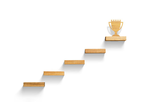 Big trophy on stair, business successful concept