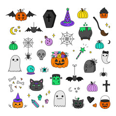 Halloween hand drawn vector icon set. Cute Halloween spooky hand drawn illustrations. Carved and festive pumpkins, candy, witch, trick or treat, night and cemetery objects, animals and ghosts.