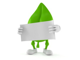 Leaf character holding blank sheet of paper