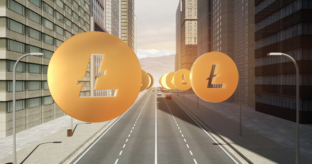 Litecoin Sign In The City - Digital Currency Related Aerial 3D City Flight