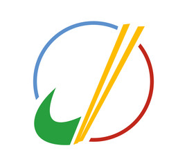 Colorful J letter logo with chopsticks implemented, isolated