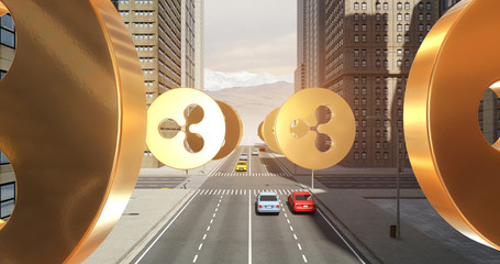 Ripple Sign In The City - Digital Currency Related Aerial 3D City Flight