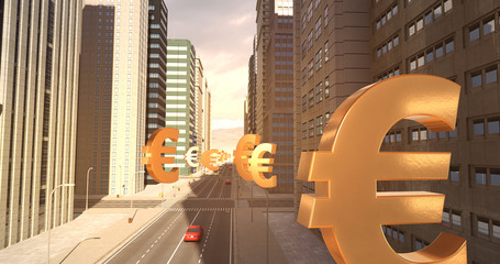 Euro Currency Sign In The City - Business Related Aerial 3D City Flight To Sky