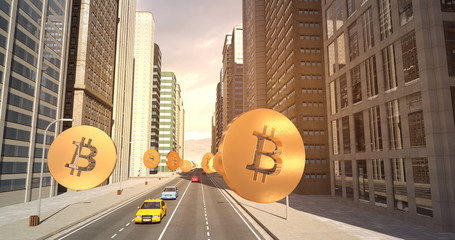 Bitcoin Sign In The City - Digital Currency Related Aerial 3D City Flight To Sky
