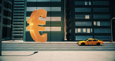 Euro Currency Sign In The City - Business Related Aerial 3D City Street Flight