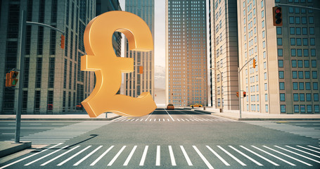 British Pound Sign In The City - Business Related Aerial 3D City Street Flight