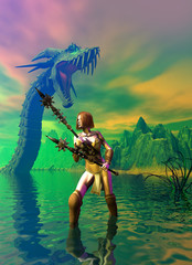 Amazon warrior exploring a lake, in the background a dragon and the mountains, 3d illustration