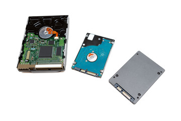 Hard disk 3.5, 2.5 and SSD drive. Isolate on white