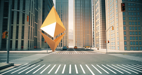Ethereum Sign In The City - Digital Currency Related Aerial 3D Street City Flight