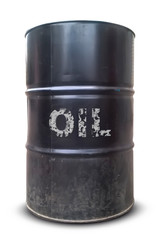Old oil barrel isolated on white background. Blank realistic black oil barrel.