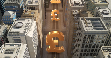 British Pound Sign In The City - Business Related Aerial 3D City Flight Over Skyscrapers