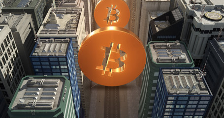 Bitcoin Sign In The City - Digital Currency Related Aerial 3D City Flight Over Skyscrapers