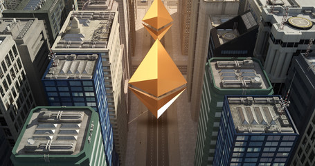 Ethereum Sign In The City - Digital Currency Related Aerial 3D City Flight Over Skyscrapers