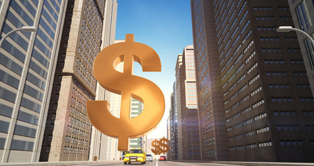 US Dollar Sign In The City - Business Related Aerial 3D City Street Flight
