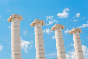 View of the Four Columns also known as Ionic columns on the square of Josep Puig i Cadafalch in Barcelona