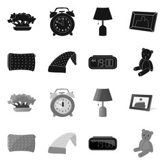 Vector illustration of dreams and night icon. Collection of dreams and bedroom vector icon for stock.