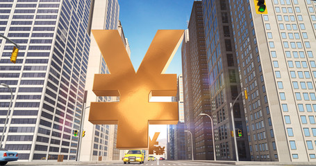 Japanese Yen Sign In The City - Business Related Aerial 3D City Street Flight