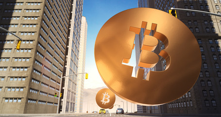 Bitcoin Sign In The City - Digital Currency Related Aerial 3D City Street Flight