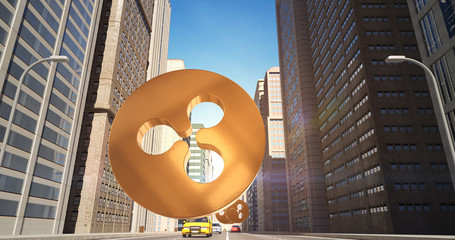Ripple Sign In The City - Digital Currency Related Aerial 3D City Street Flight