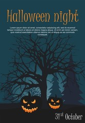 Two halloween pumpkin on night forest background.