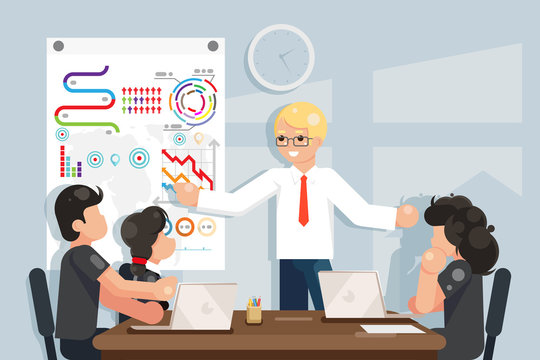 Coaching business meeting ideas solution searching flat design vector illustration