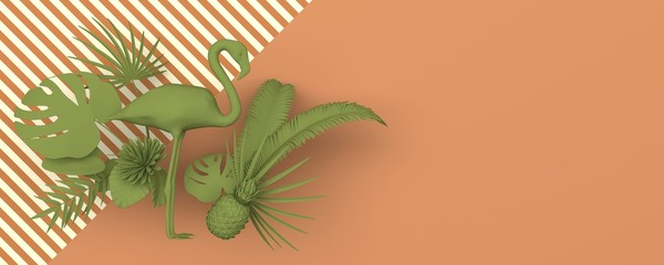 Flamingo surrounded by tropical exotic plants. Monochrome green image on a ginger background with a geometric striped pattern. Copy space. 3D rendering.