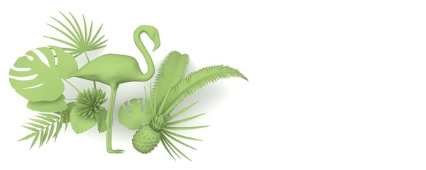 Flamingo surrounded by tropical exotic plants. Monochrome green image on a white background. Copy space. 3D rendering.
