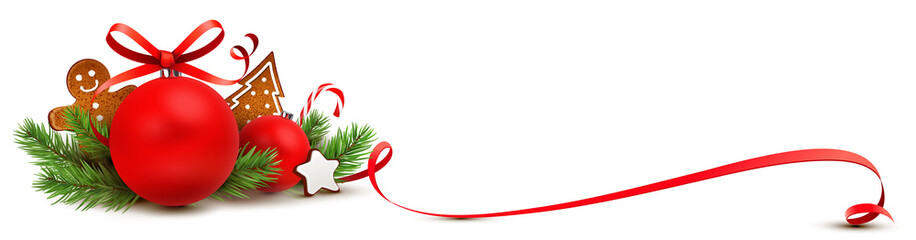 Weihnachtsschmuck Grußkarte rot - Weihnachtskugel mit Lebkuchen, Tannenzweige und geschwungener Schleife