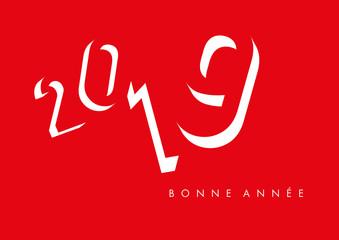 Carte de vœux 2019 avec un design 3D, pour symboliser une entreprise originale et dynamique
