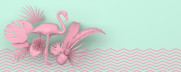 Flamingo surrounded by tropical exotic plants. Monochrome pink image on a turquoise background with a geometric zigzag pattern. Copy space. Pastel colors. 3D rendering.