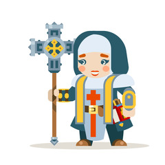 Priest female warrior fantasy medieval action RPG game layered animation ready character vector illustration