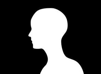 Side view of human head icon shape or profile silhouette isolated on black background. abstract illustration