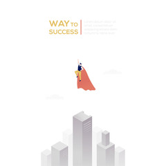 Way to success - modern isometric vector web banner