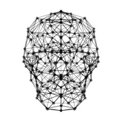 Human brain with digital network connection lines symbol isolated on white background in the form of artificial intelligence for technology concept, 3d abstract illustration