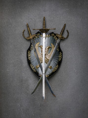 shield and sword on gray background