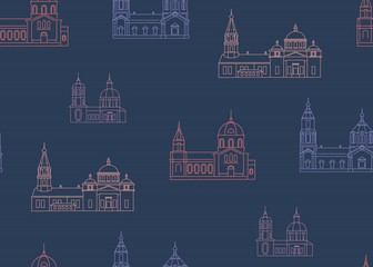 vector illustration of church vintage building wrapping pattern