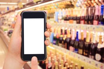 ワイン、シャンパンとスマートフォンとインターネットショッピング wine, champagne, smartphone and internet shopping