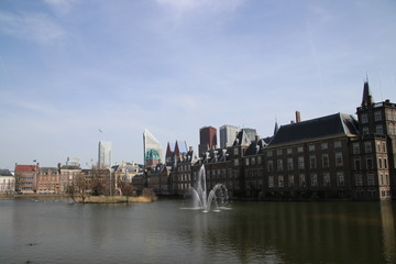 Water at the Hofvijver, a pool at the parliament building complex named the Binnenhof in Den Haag.