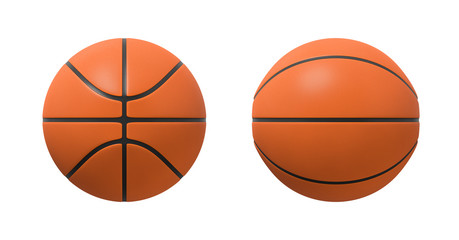 3d rendering of basketballs shown in different view angles on a white background.