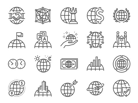 Global business line icon set. Included icons as world class, international, finance, cooperation, strategy and more.