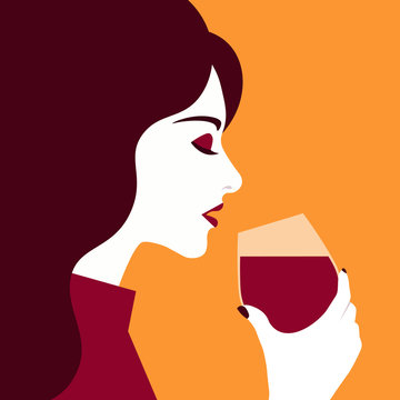 Woman drinks wine from a glass. Profile of a girl. Vector flat illustration