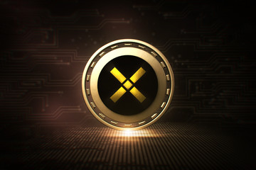 Pundi X - NPXS - 3D Cryptocurrency Coin - Front View