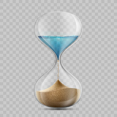 Water in hourglass becomes a sand. Sandglass isolated on transparent background.