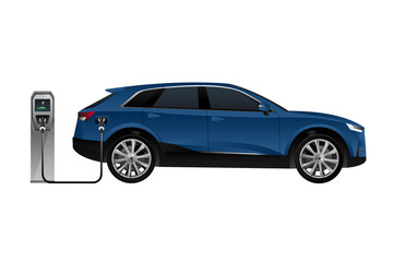 Electric SUV is charging from the charging station. Vector illustration EPS 10