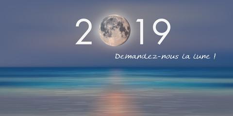 Carte de vœux 2019 pour une entreprise qui fait la promesse publicitaire de lui demander la lune.