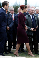 Sweden's Crown Princess Victoria and Prince Daniel leave after a ceremony at the Parc Beaumont as part of a visit for the bicentenary of the Swedish throne in Pau