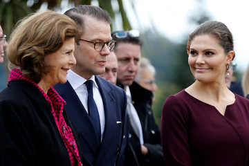 Sweden's Crown Princess Victoria and Prince Daniel, Sweden's Queen Silvia attend a ceremony at the Parc Beaumont as part of a visit for the bicentenary of the Swedish throne in Pau